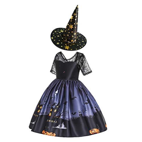 Saia de bruxa Amosfun Halloween com chapéu de bruxa elegante fantasia de bruxa infantil vestido de princesa para Halloween baile de máscaras cosplay fantasia preta