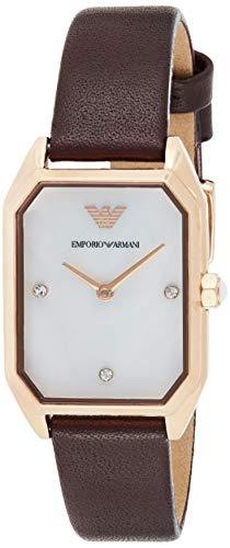 Emporio Armani Set de Regalo Reloj de Dos manecillas con Correa de curo Burdeos y Pendientes AR80028