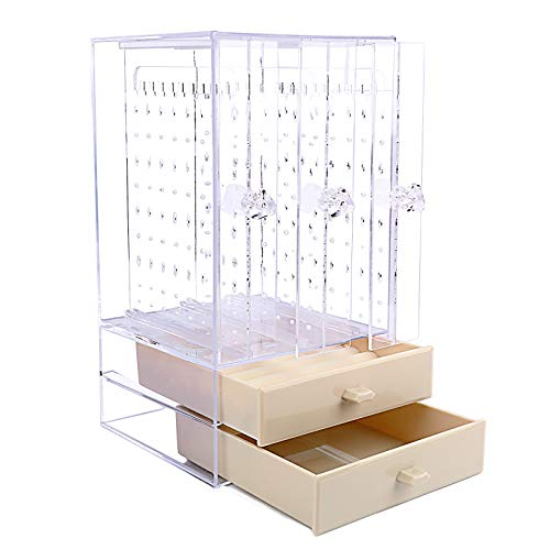 VINFUTUR Acrylic Earring Holder Earring Display Stand Dustproof Earring Studs Storage Organiser Jewellery Organiser Storage Box (3 Panels + 2 Drawers, Cream)