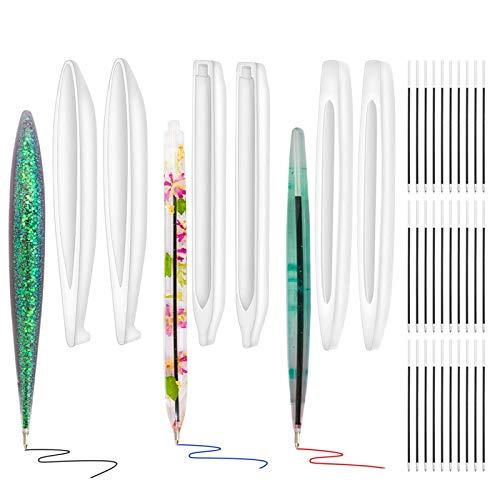 YZNlife Moldes para moldear el lápiz, 6 unidades, resina con forma de bolígrafo con 84 rellenos, molde de silicona para manualidades, molde de resina, para maestros, estudiantes