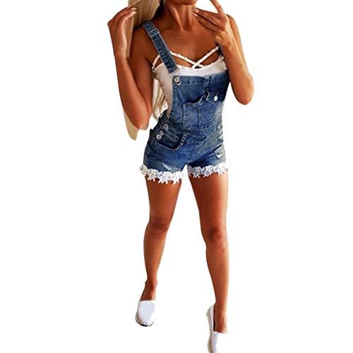 NPRADLA Damen Riemchen Denim Shorts Sommer Overall Kurze Hosen Blaue Röhren Hipster Hosen Knopf Taschen Damen Patchwork Spitzen Jeans