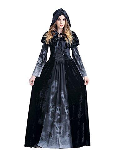 Asskyus Frauen Halloween Hooded Robe Kostüm Hexe Kostüm Kleid Party Cosplay (XXL, Schwarz)
