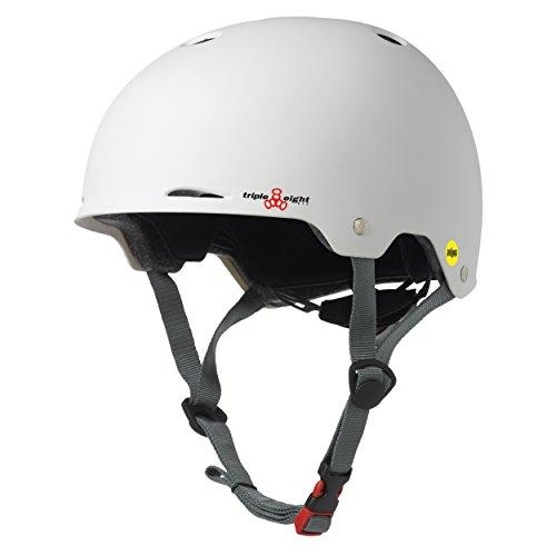 Triple Eight Gotham Dual Certified MIPS Skateboard and Bike Helmet, White Matte, Large / X-Large