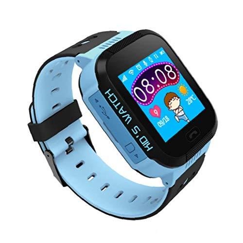 Reloj elegante reloj de los cabritos de teléfono para la cámara Niños Niñas pantalla táctil llamada de 2 maneras chat de voz SOS Alarm Clock pulsera SmartWatch perdido anti al aire libre para Blue