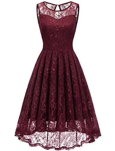 Gardenwed Damen Kleid Retro Ärmellos Kurz Brautjungfern Kleid Spitzenkleid Abendkleider CocktailKleid Partykleid Burgundy M
