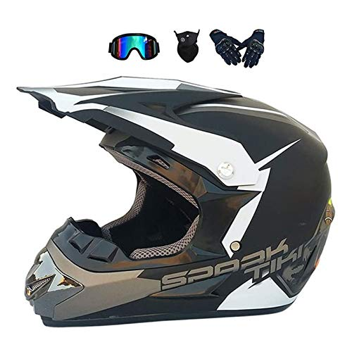 LALAGOU - Casco de moto infantil para niño, diseño moderno, para niño, gafas, guantes, máscara, Quad Enduro, ATV, certificación ECE y DOT (E, S (52-53 cm)