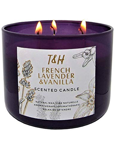 French Lavender Vanilla Scented Candles Aromatherapy Gifts for Women | 16 Ounce Soy Candle Long Lasting Scented Candles for Home | Stress Relief Candles 3 Wick | Office Gifts for Women