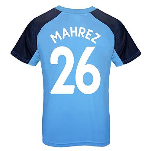 Manchester City FC - Jungen Trainingstrikot aus Polyester - Offizielles Merchandise - Geschenk für Fußballfans - Himmelblau mit Vereinswappen Mahrez 26-6-7 Jahre