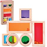 Top Right Toys Color Mixing and Stacking Building Blocks Colors, Shapes and Sounds Rainbow Preschool Learning Wooden Construction Toys Educational Fun for Toddler Kids Girls and Boys, 7 Piece Set