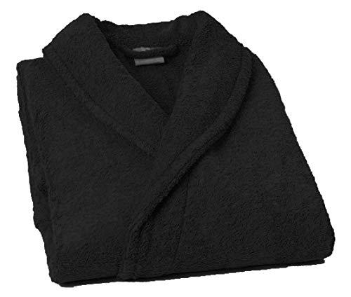 Lasa Pure Albornoz con Cuello Tipo Smoking, algodón 100%, Negro, L