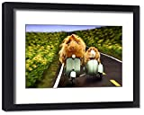 Framed 20x16 Print of Guinea Pigs Riding a Motor Scooter and Side Car (19988407)