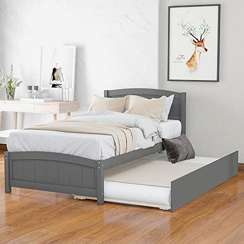 Twin Platform Bed with Trundle, Rockjame Minimalistic Stylish Wood Bed Frame, Easy to Install, Suitable for Kids, Teens and Adults (Gray)