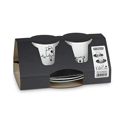 Könitz Funny Cats & Dogs Espresso Geschenkset, 4-tlg.,2 Espresso Tassen mit Untertasse, Porzellan, 85 ml, 11 5 054 2075