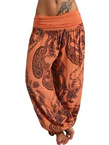 Tomwell Harem Pantalón para Mujer Casual Boho Floral Aladin Bombacho Baggy Yoga Pantalones A Naranja Medium