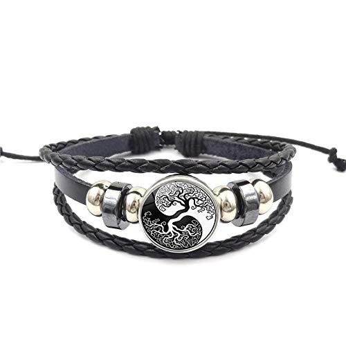 2019 Yin Yang Tai Chi Símbolo Pulsera De Cuero Vidrio Cabulate Yin Yang Joyería Daoíst Armadura Filosofía Multicapa Cuero Bracele