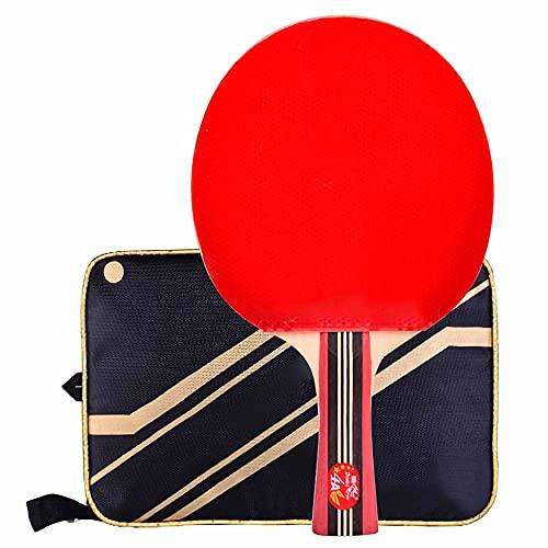 HXFENA Bate de Tenis de Mesa,Palas de Ping Pong Profesional 4 Estrellas Arco CíRculo Raqueta de Ataque RáPido Mango Acampanado para Juegos en Interiores Y Exteriores/A/mango