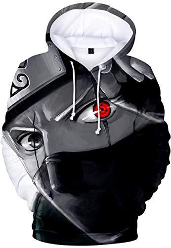 FLYCHEN Niño Sudadera con Capucha Naruto Ninjutsu Anime Impresión Digital 3D Uchiha Sasuke - Ojo Blanco-Negro 0449 - M