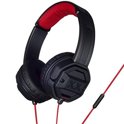 JVC Xtreme Xplosives On-Ear-Kopfhörer mit Fernbedienung und Mikrofon, Schwarz/Rot