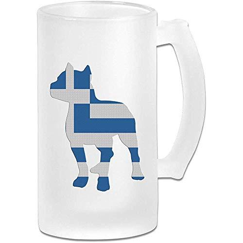 Patriottische Pitbull Griekse vlag mat glas Stein bier mok, pub mok, drank mok, geschenk voor bier Drinker, 500Ml (16.9Oz)
