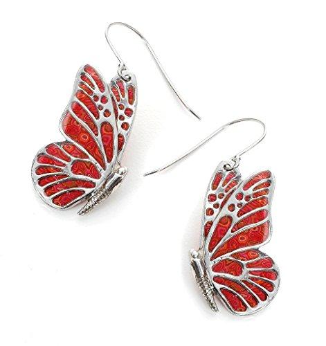 Pendientes de plata de mariposas - Joyería rojo coral para mujer - Dijes de arcilla polimérica hechos a mano - Regalos de boda para madrina