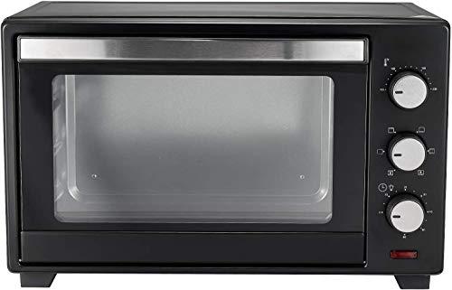 Horno eléctrico de 30 l, 1600 W, 5 modos de cocción, temperatura de 100 – 230 °C, temporizador de 60 min, doble cristal, luz interior, con bandeja y rejilla mini horno, horno ventilado