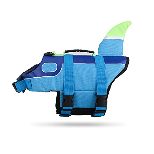 Dog Life Jacket Vest, Adjustable Shark Life Jacket for Dogs with Rescue Handle, Pet Safety Swimsuit Preserver for Small Medium and Large Dogs Swimming Pool Beach Boating (Medium)