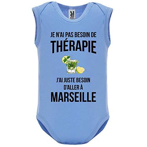 LookMyKase Body bébé - Manche sans - Je n AI Pas Besoin de Therapie j AI Juste Besoin d Aller à Marseille - Bébé Garçon - Bleu - 12MOIS