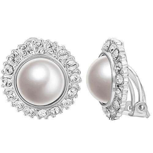 Yoursfs - Pendientes de perlas de clip para mujer  diseño vintage en forma de girasol  con diamantes de imitación de cristal  joyas para vestido de novia (Clip de oro blanco en los pendientes)