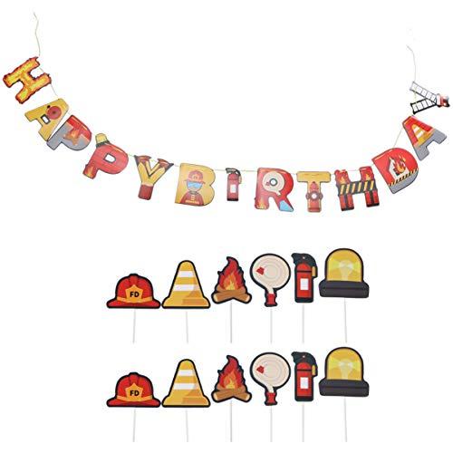 Cumpleaños Globos Decoración de la Torta- Centro de Mesa de Bomberos Palos Bombero Cupcake Toppers Fiesta de Cumpleaños Favor Extintor de Incendios Decoración para Baby Shower Fotomatón (Colorido)