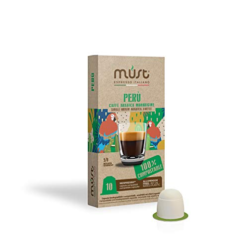 MUST 100 cápsulas de café mezcla de Perú Origen único 10 paquetes de 10 cápsulas compatibles con la máquina Nespresso 100% cápsulas compostables Made in Italy Reciclable