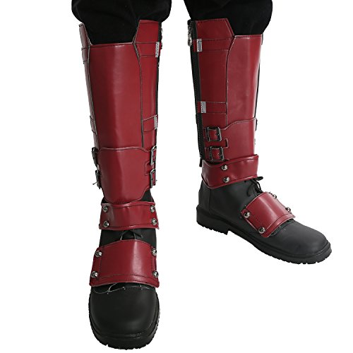 Xcoser Chaussures Film Boots Cosplay Costume PU Shoes avec Side Zipper Genou Haute Bottes Covers 43
