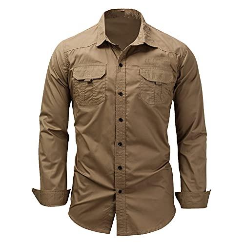 N\P Camisa de vestir de manga larga para hombre con cuello al revés