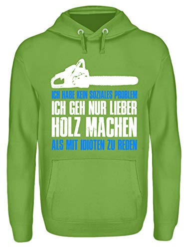 Camiseta de madera para leñadores/motosierra/árbol/bosque/sierra/jersey/chaqueta/granjero/unisex con capucha verde lima XL