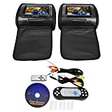 Reposacabezas DVD Display, BiuZi 2Pcs 7inch Coche Pantalla digital Reposacabezas DVD Reproductor de video Monitor con cremallera