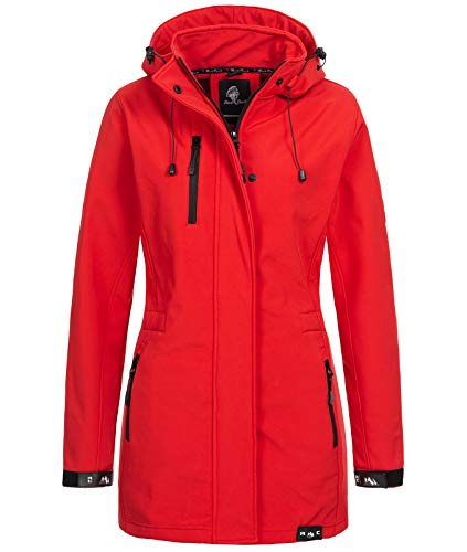 Rock Creek Damen Softshell Jacke Mantel Outdoor-Mantel Damenmantel Softshellmantel Winterjacke Wasserabweisend Kapuze Übergang D-423 Rot 2XL