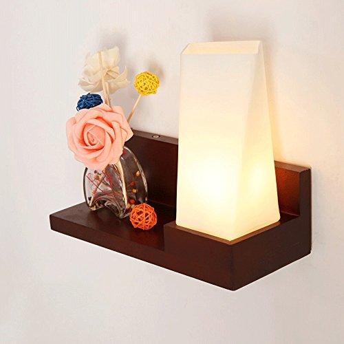 Nordique En Acajou/En Bois LED Lampe De Mur Simple Moderne Chambre Chevet Lampe Creative Japonais Salon Couloir Escalier Mur Lampe De Mur (Design : Mahogany)