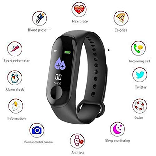 Wunderschon Fitness Waterproof Bracelet Watch Activity Tracker with Heart Rate Monitor