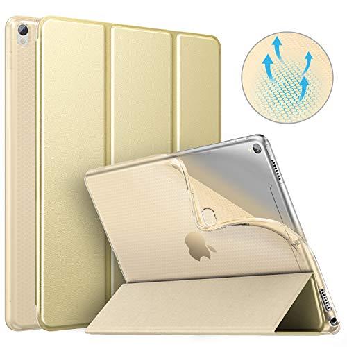 MoKo Schutzhülle Kompatibel mit New iPad Air 3 2019(3rd Generation 10.5 inch)/iPad Pro 10.5 2017, Auto Wake/Sleep Smart Trifold Ständer Transluzente TPU Rückseite Tablet Hülle - Champagne Gold