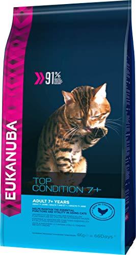 Eukanuba Top Condition Cibo secco per gatti maturi e anziani dai 7 anni in su, ricco di pollo fresco, 4 kg
