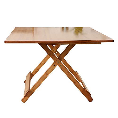 JCCOZ -T Mesa plegable portátil de bambú maciza mesa cuadrada mesa de comedor moderna mesa de inicio tiempo libre cocina casa comedor T (tamaño: S)