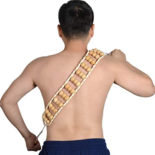 Handmade Massage Roller Rope, Self Wooden Massager Tools For Full Body Muscle Pain Relief ,Massage Area 20*3Inch