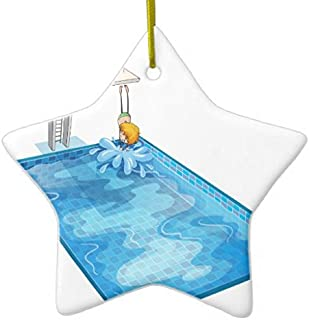 LilithCroft99 A Boy in A Swimming Pool Ceramic Christmas Ornaments Novelty Christmas Tree Decoration, Double Sided,3 Inches