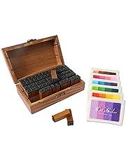 HUSTON LOWELL Vintage Wooden Rubber Letter Number Stamp Set + Colorful Ink Pad - Multipurpose DIY Diary Cards Stamps Craft, 70 pcs Alphabet Letter Number Symbol (Kids) (70 pcs + 6 Color Ink pad)