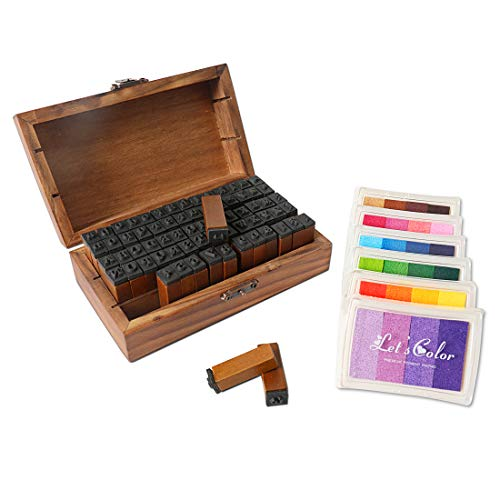 HUSTON LOWELL Vintage Wooden Rubber Letter Number Stamp Set + Colorful Ink Pad - Multipurpose DIY Diary Cards Stamps Craft, 70 pcs Alphabet Letter Number Symbol (Kids) (70 pcs + 6 Color Ink pad)