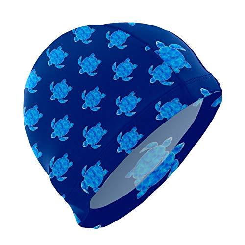 Gorro de natación para hombres y mujeres, unisex, elástico, para cabello largo, corto, talla única, azul océano, tortuga de mar, azul oscuro