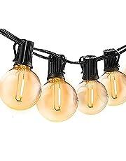 Bomcosy Lichtketting voor buiten, 30m lang, 50 G40-lampen, lichtsnoer, gloeilamp voor buiten, stroomverlichting voor terras, party, tuin, balkon en binnen, warmwit 2700K, waterdicht IP45