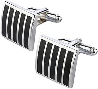 Dinardo CF0031234 Cufflinks for Men - Black and Silver