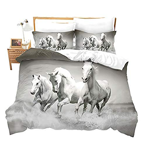 Three-piece duvet cover Galloping horse Duvet Cover and Two Pillow Cases Microfibre 3D Digital Print Three-Piece Set,200x200cm