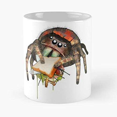 Jumping Jumper Sandwich Phidippus Spiders Eating Spider Salticidae Eat Food Bite John Best Taza de café de cerámica de 325 ml