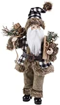 "RAZ Imports Christmas in The Country 20"" Santa Black White Checked Buffalo Plaid Carrying Package and Bag 3912512"